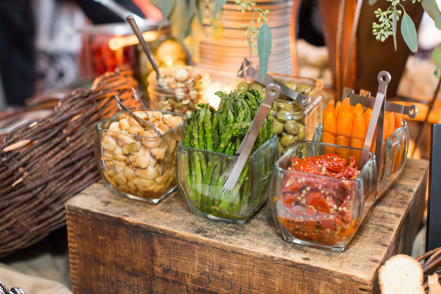 Local vegetable and antipasto display at Charleston, SC rehearsal dinner by Salthouse Catering