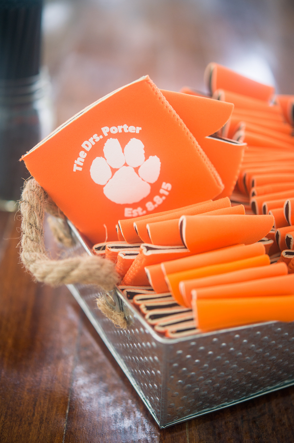 CHARLESTON WEDDINGS - Clemson themed wedding koozies