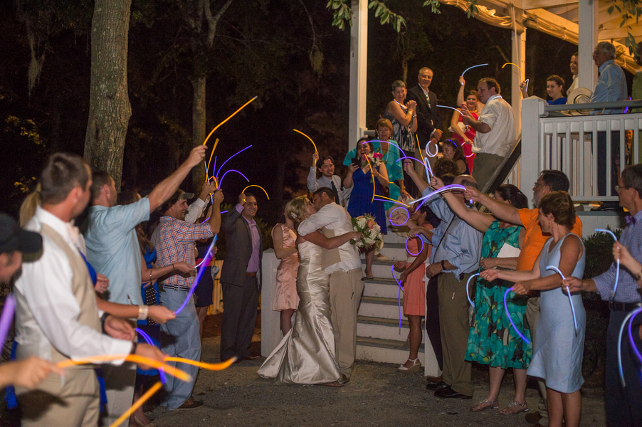 CHARLESTON WEDDINGS - Bride and Groom exit at Creek Club at I'on by Molly Joseph Photography