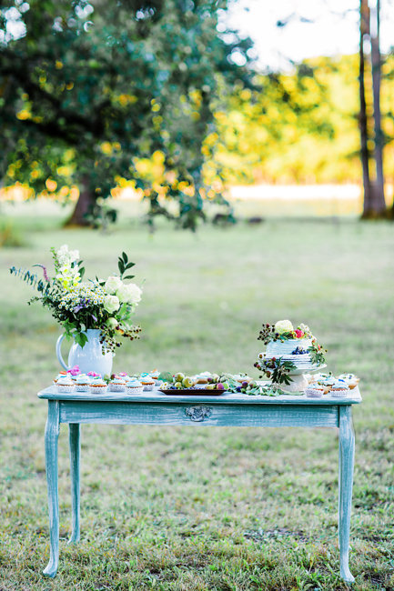 Wedding dessert table with berries and garden roses by Myrtle Beach wedding photographer Corina Silva