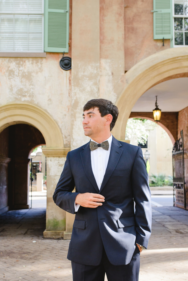 Hugh Morrison's wearing Brackish Bow Ties at Lowcountry wedding at College of Charleston