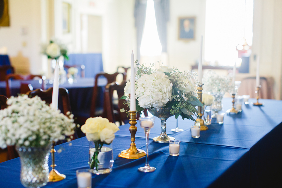 Elegant Charleston wedding decor by Fresh by Frampton's Flowers at The South Carolina Society Hall