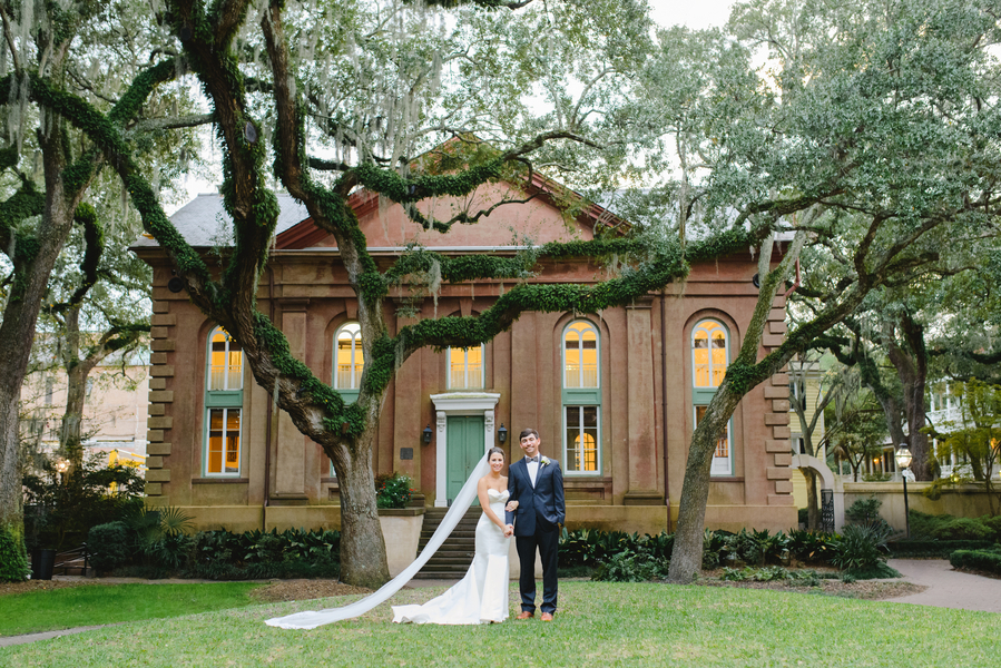Samantha and Hugh Morrison's wedding day on The College of Charleston campus
