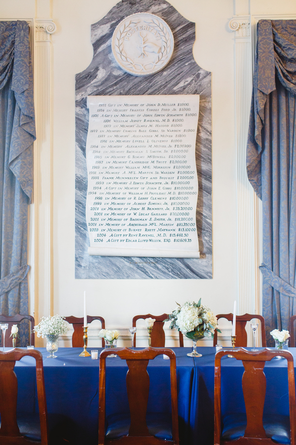 CHARLESTON WEDDINGS - The South Carolina Society Hall wedding with white hydrangea centerpieces by Frampton's