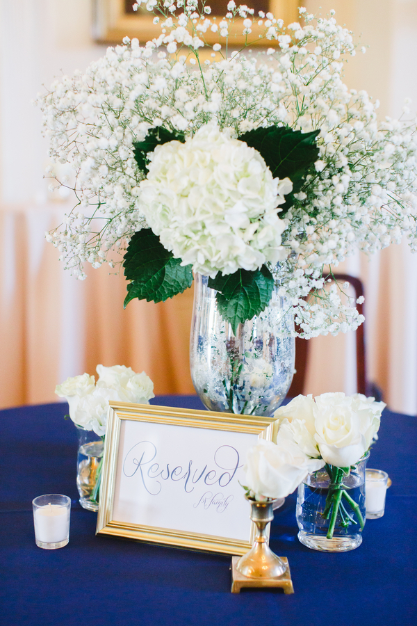 Hydrangea and baby's breath centerpieces at The South Carolina Society Hall by Frampton's Flowers