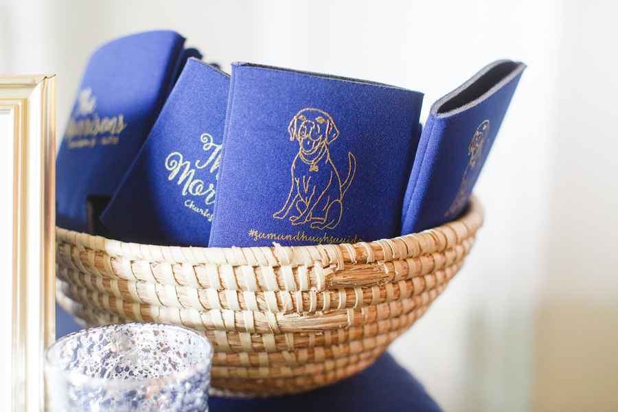 Blue Charleston wedding koozies at The South Carolina Society Hall