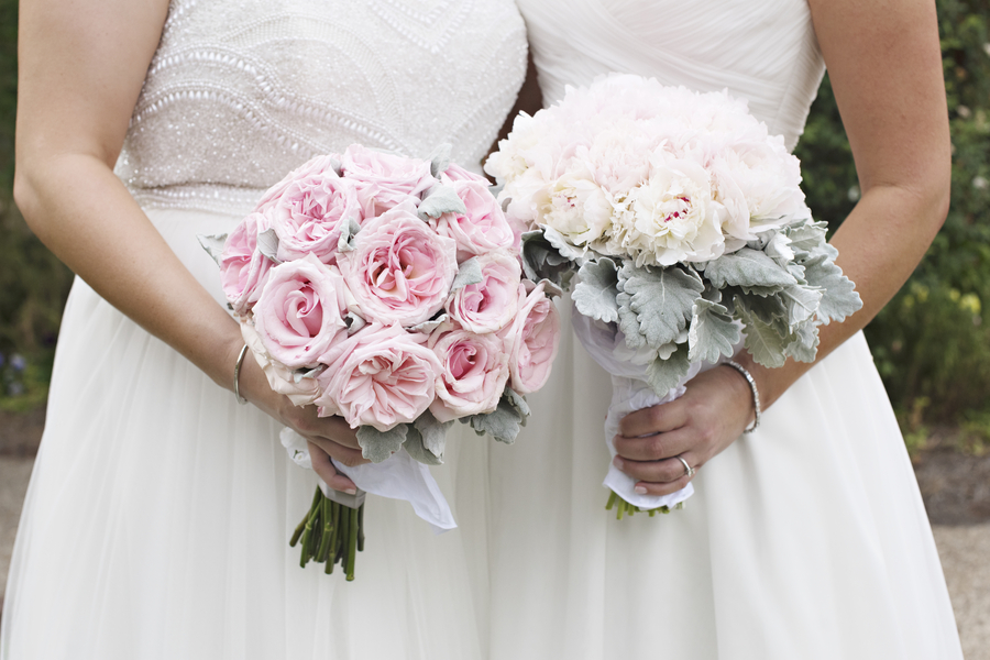 Two bridal bouquets at Same Sex wedding in Savannah, GA