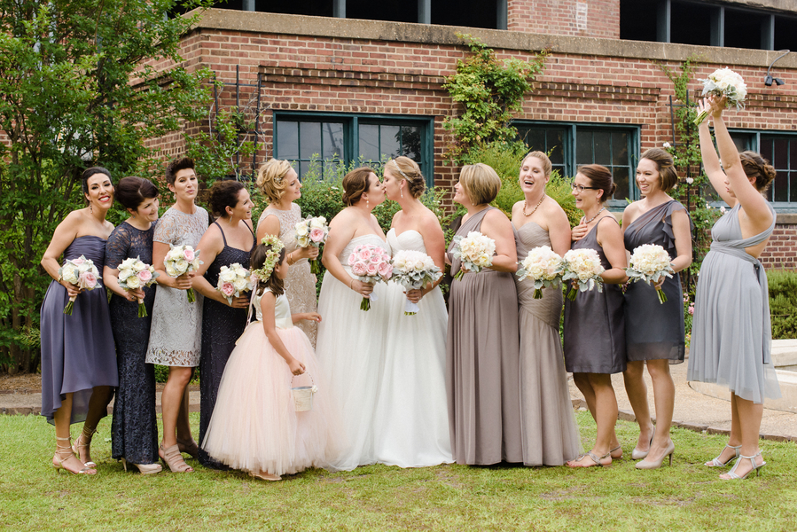 Bridal party in neutrals at Savannah, GA wedding