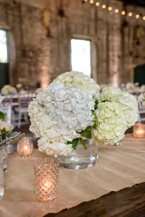 White hydrangea centerpieces at Lowcountry wedding in Savannah