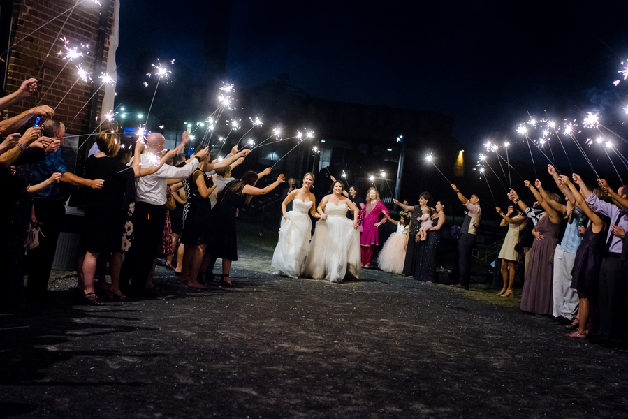 Sparkler exit at the end of Savannah, GA wedding