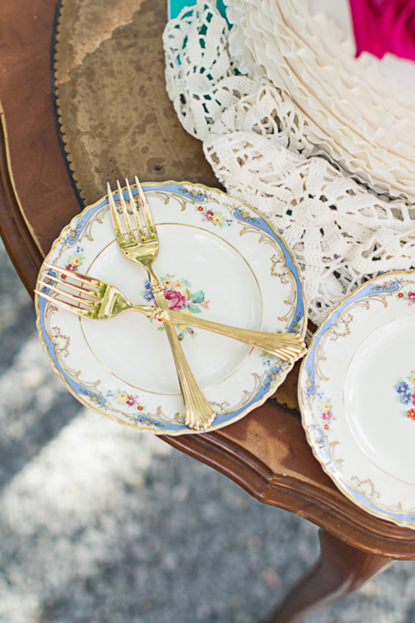 South Carolina wedding inspiration with Beautiful china and gold flatware by Charmingly Southern Vintage Rentals
