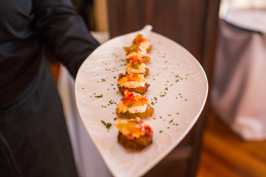 fried green tomatoes - Charleston wedding passed hors d'oeuvres by Good Food Catering at The Historic Rice Mill Building