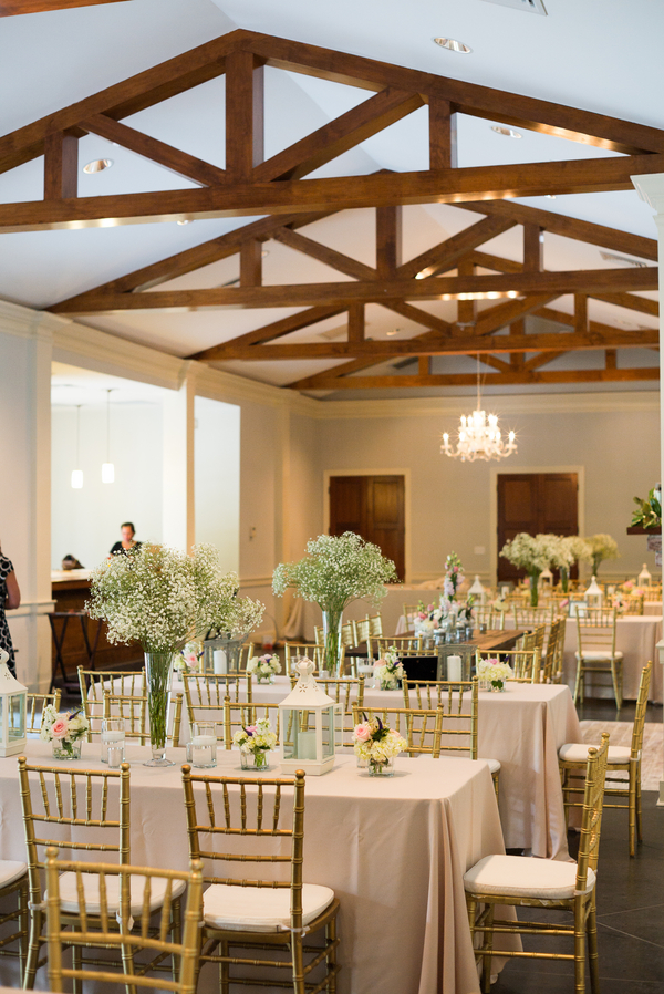 Baby's breath centerpieces at Coleman Hall