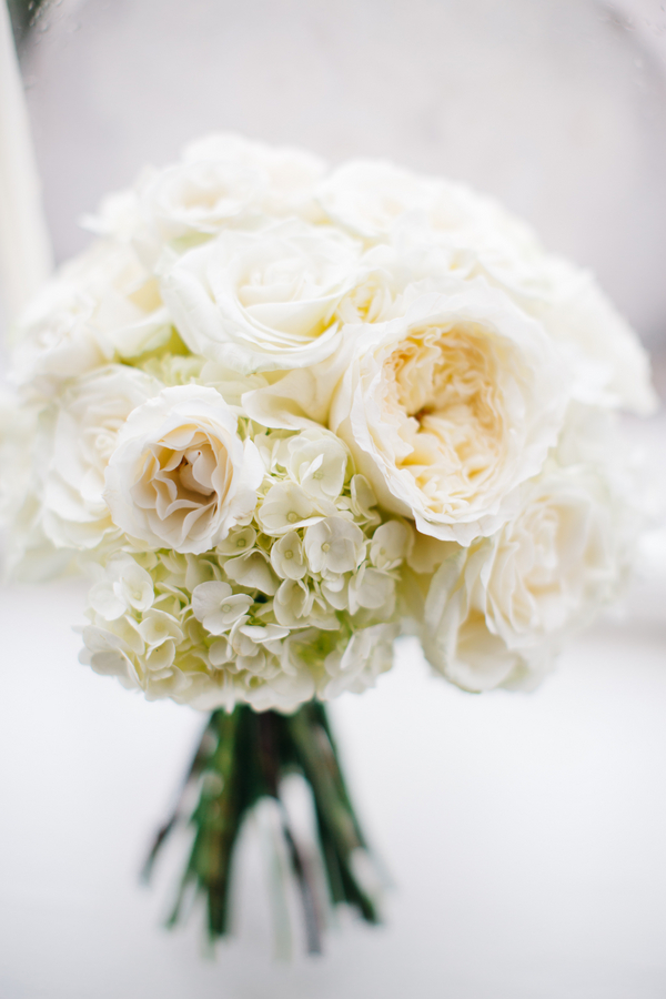 All-white bouquet of garden roses and hydrangeas by Charleston Flower Market