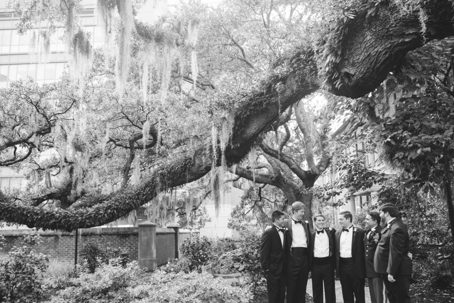 Groomsmen at St. Luke's Chapel in Charleston, South Carolina