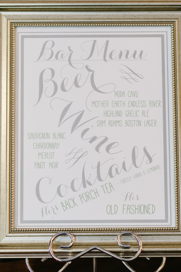 Charleston wedding bar menu at The Harbour Club