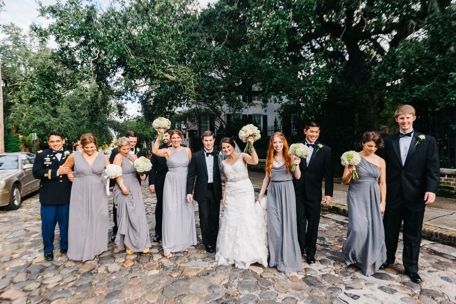 Charleston Bridesmaids in long grey dresses at St. Luke's Chapel