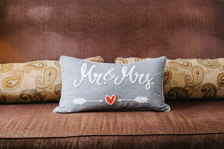 Charleston wedding pillow at The Harbour Club