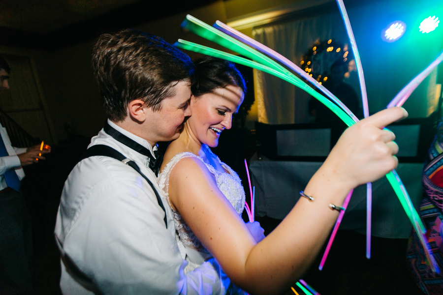 Charleston wedding reception with glow sticks  at The Harbour Club