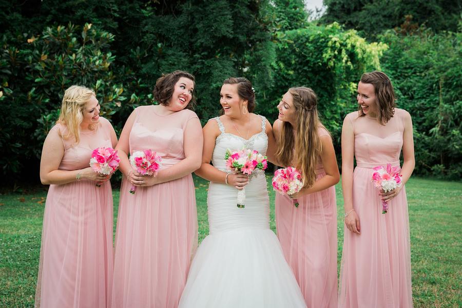 Pink Charleston bridesmaids dresses