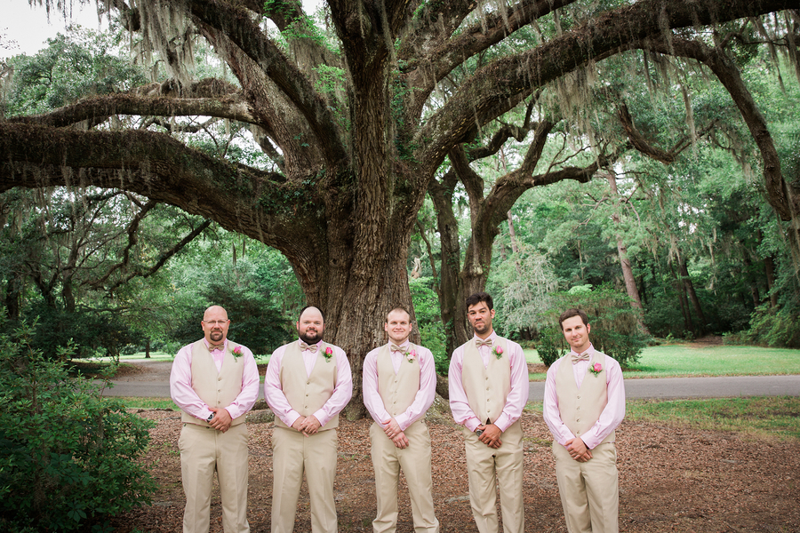 Groomsmen attire at wedding in Charleston, SC from Men's Warehouse