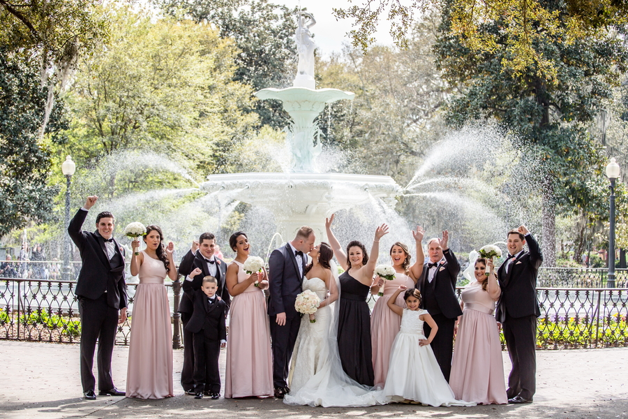 Savannah Wedding at Forsyth Park fountain