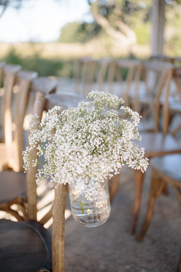 Baby's breath wedding ceremony decor at Boone Hall Plantation