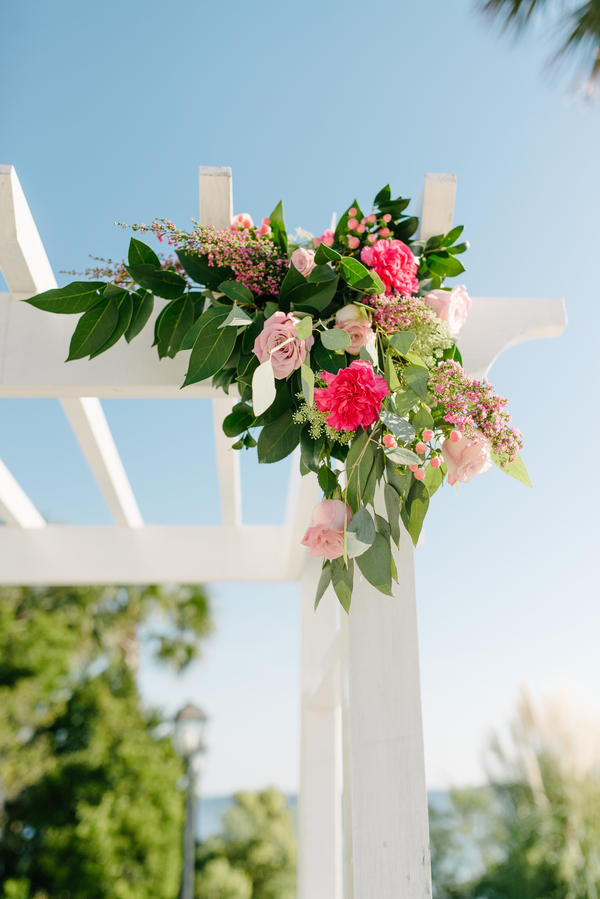 Charleston wedding ceremony arbor flowers by Lowcountry vendors Pretty Petals