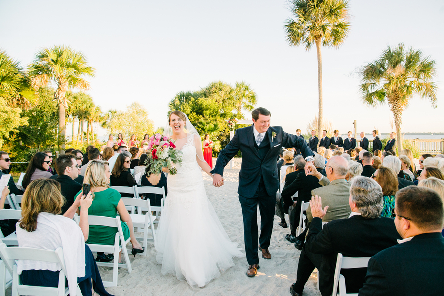 Outdoor beach wedding ceremony at Charlseton Harbor Resort and Marina