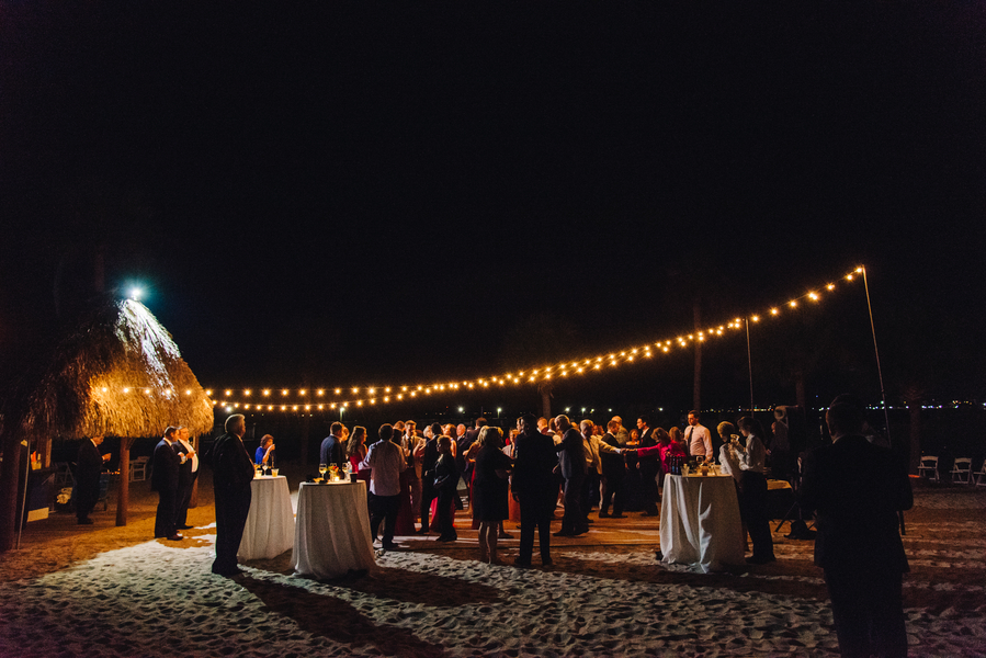 Outdoor evening wedding reception at Charleston Harbor Resort & Marina