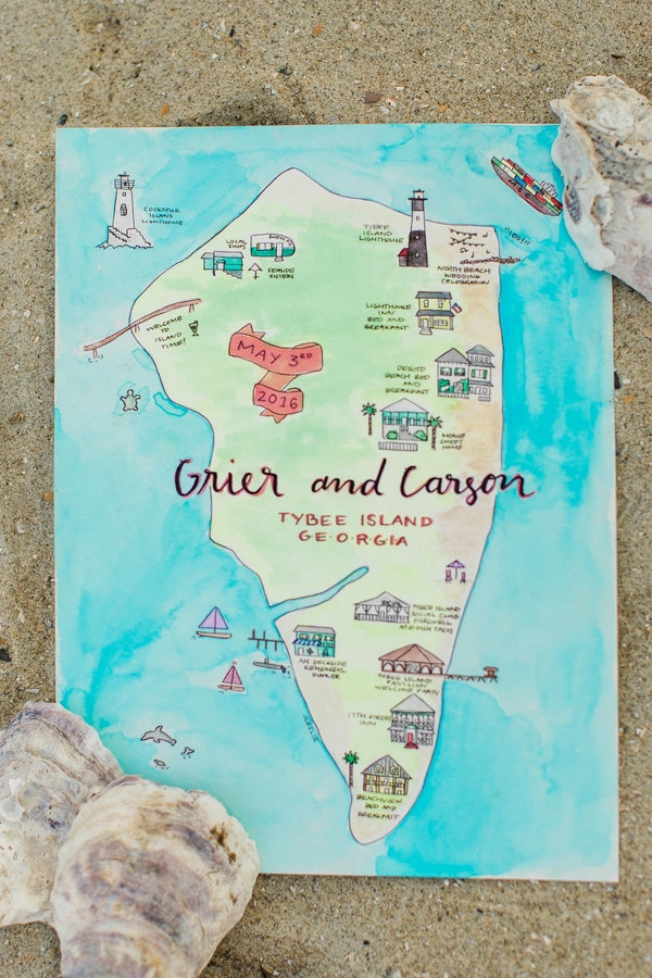 Coastal Georgia wedding maps by JLeslie Designs