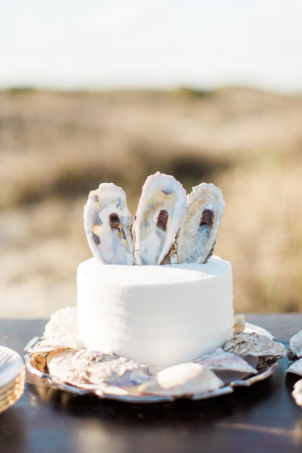 Oyster Shell wedding cake on Tybee Island by Savannah, GA vendor - Baker's Pride