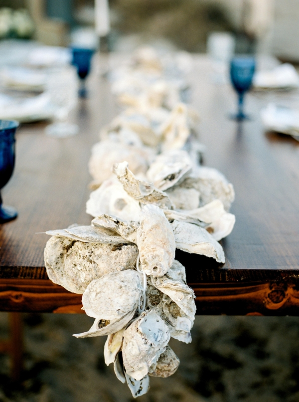 Oyster Shell wedding decor on Tybee Island by Savannah, GA vendor - JLeslie Designs