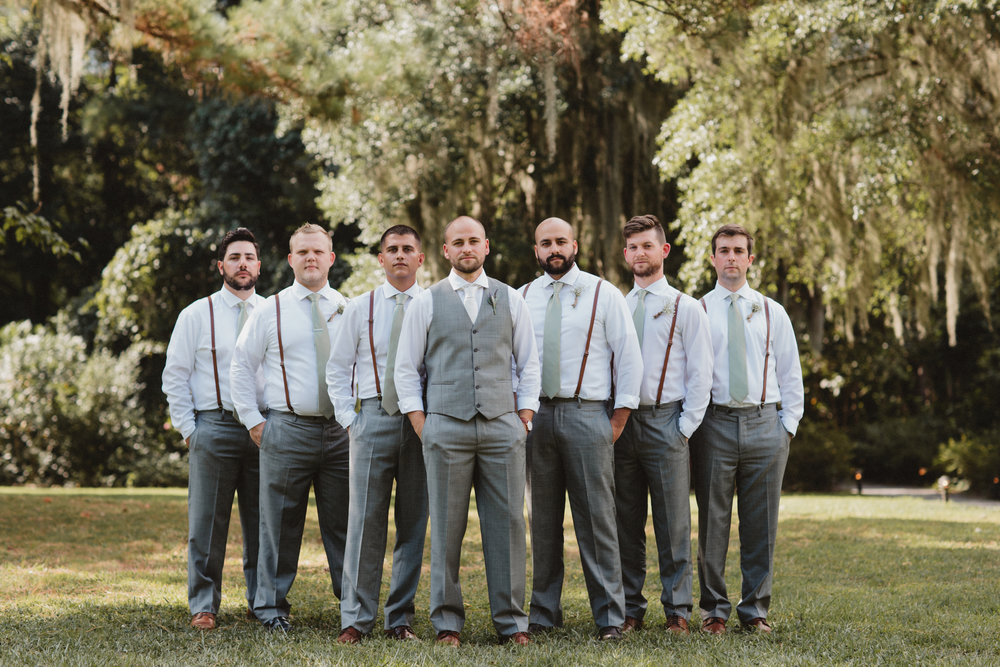 Groomsmen at Charleston wedding at Magnolia Plantation and Gardens