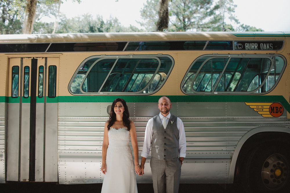 Gina + Matt's Magnolia Plantation wedding in Charleston, SC in a vintage bus