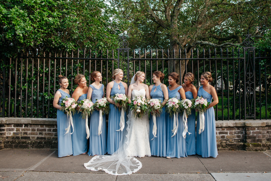 Blue bridesmaids dresses from Bella Bridesmaids at wedding in Charleston, SC