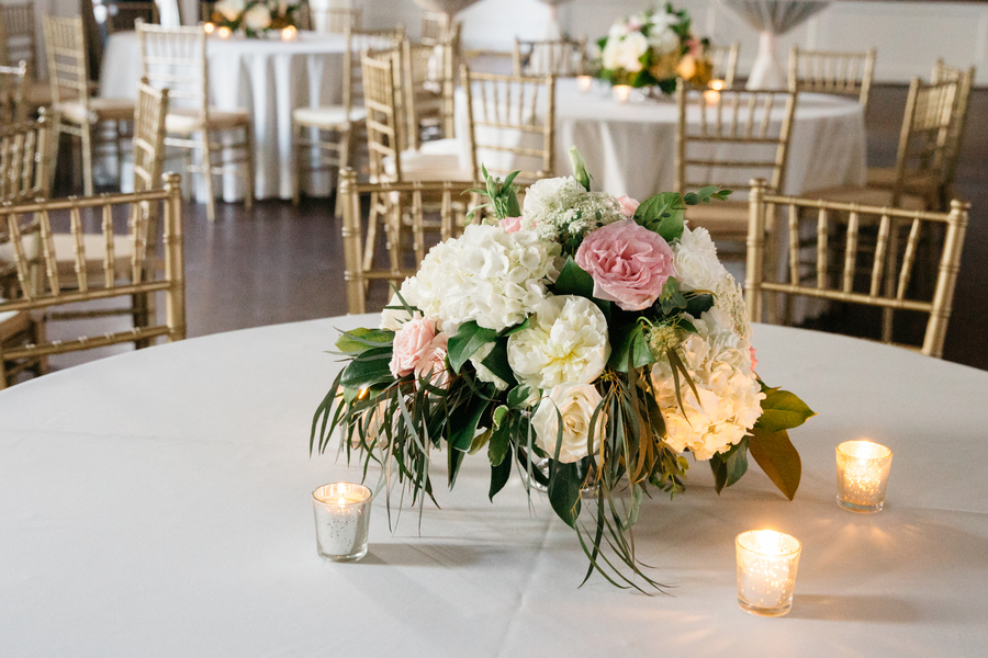 White garden roses, hydrangeas and pink rose centerpieces from The Flower Cottage at Hibernian Hall
