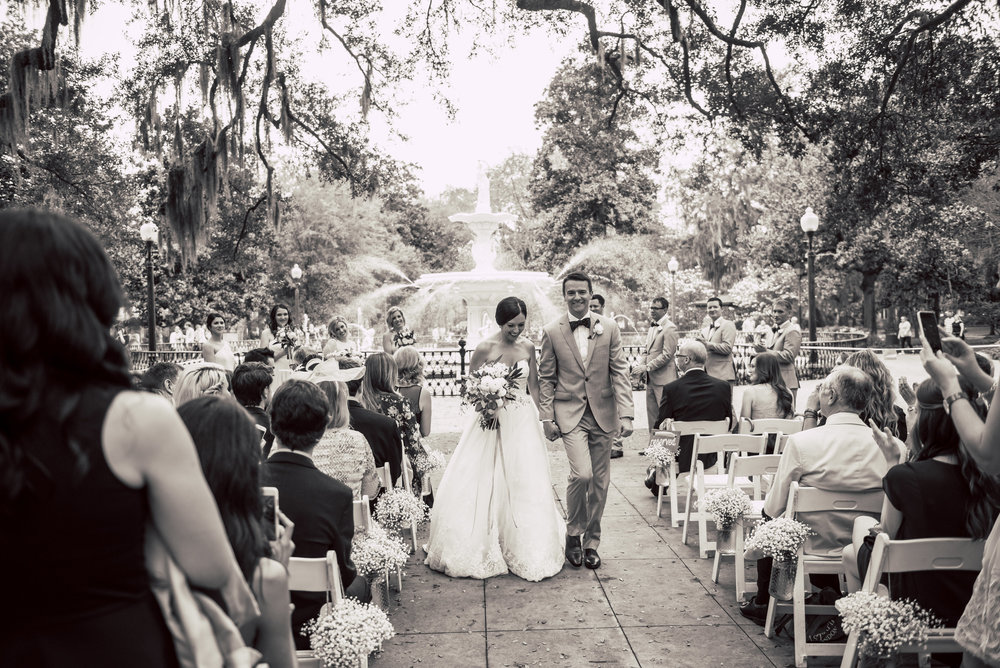 Max + Jackie's Forsyth Park ceremony in Savannah, Georgia