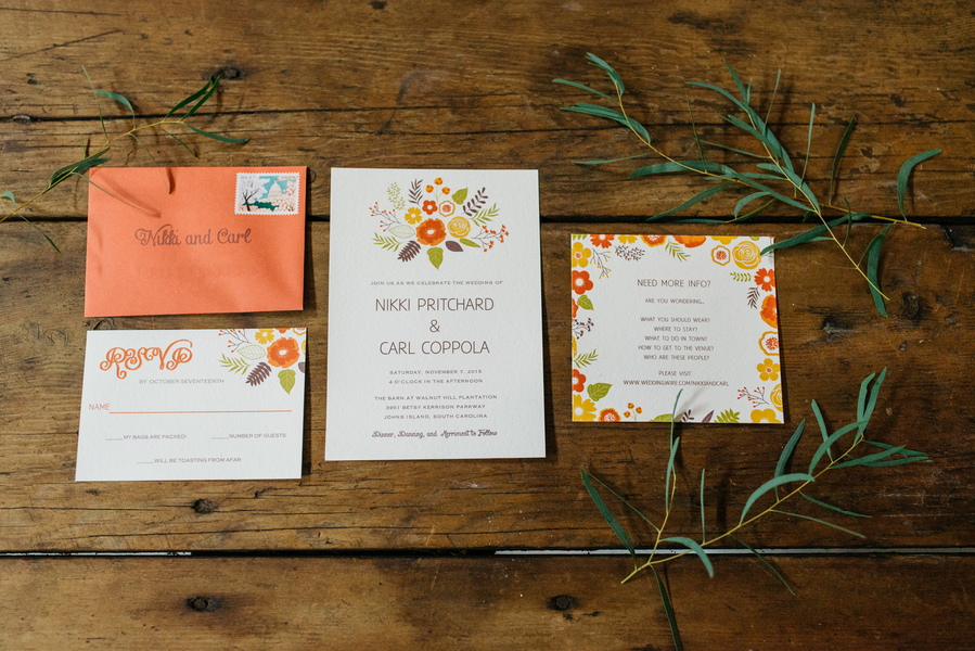 Charleston wedding invitations at The Andell Inn photographed by Riverland Studios