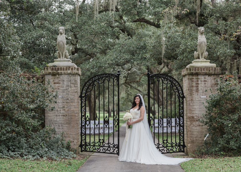 Winter wedding at Brookgreen Gardens in Myrtle Beach, South Carolina