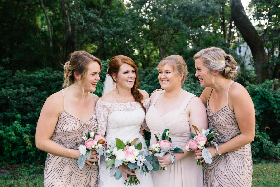 Neutral bridesmaids dresses captured by Charleston photographer Cana Dunlap Photography