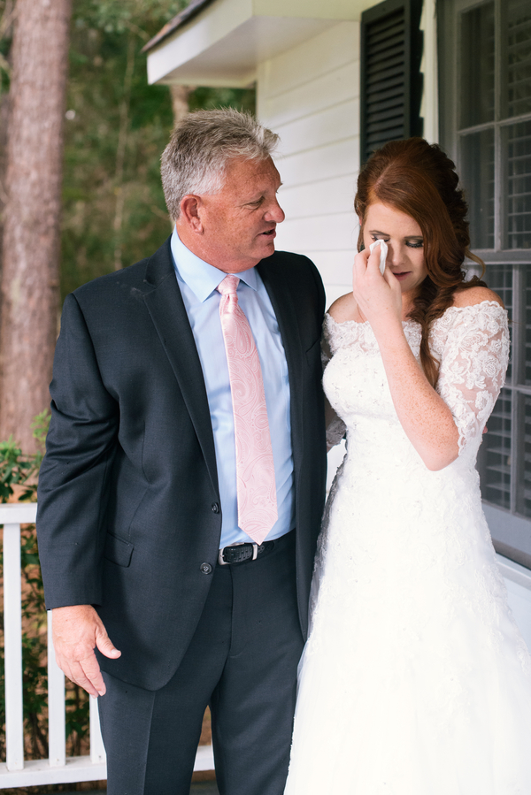 Emotional Father-daughter first look by Cana Dunlap Photography