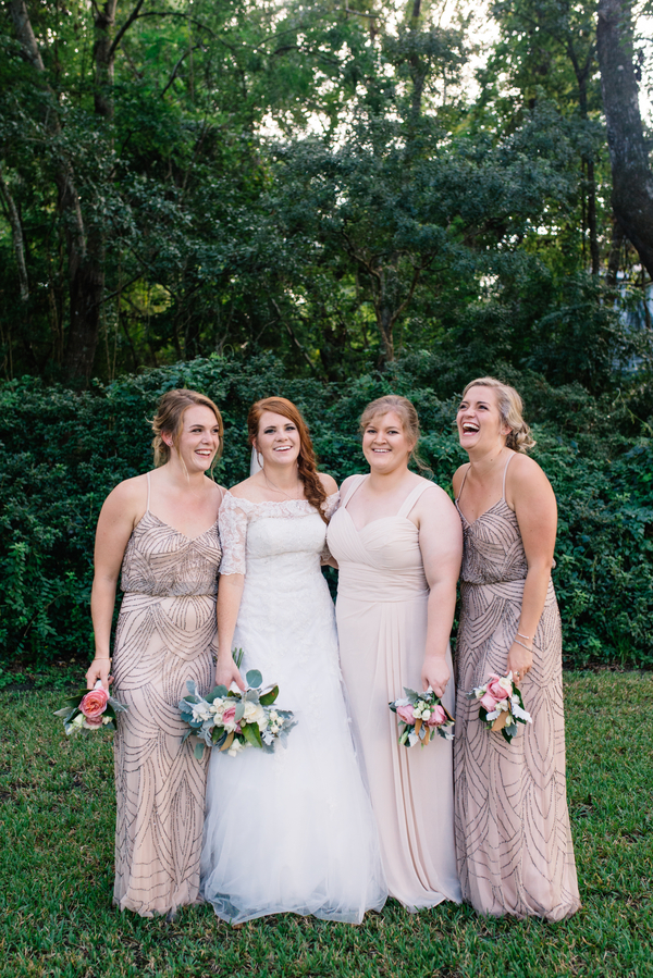 Neutral bridesmaids dresses at Charleston, SC wedding