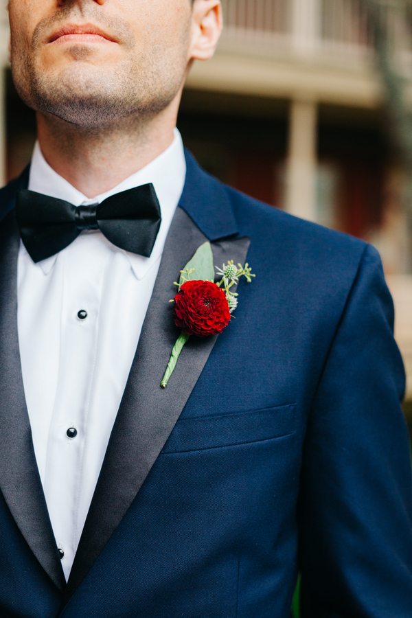 Navy tuxedo with black lapels and bow tie in Charleston, SC