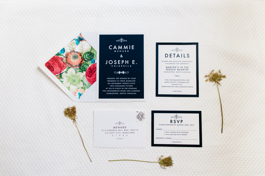 Charleston wedding invitations suite