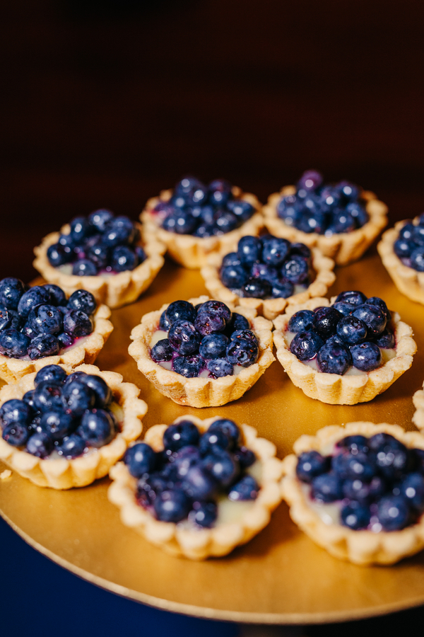 Mini Blueberry tarts by Wildflour Pastry at Charleston wedding