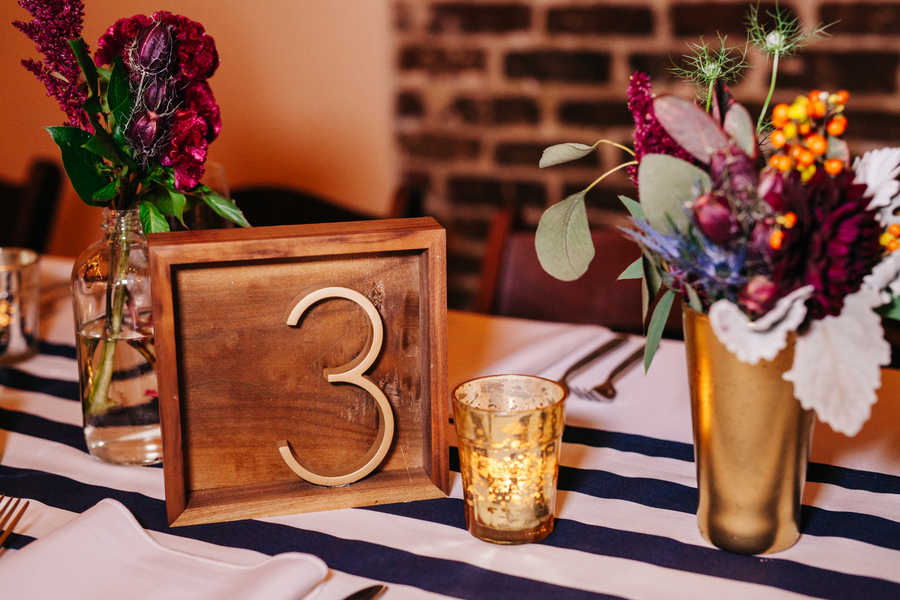 Table numbers at Charleston wedding