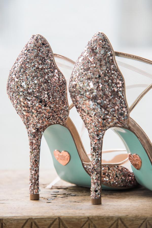 Glittery wedding heels