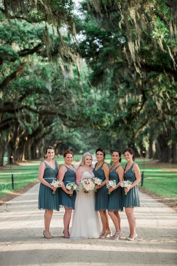 Bridesmaids in dark teal