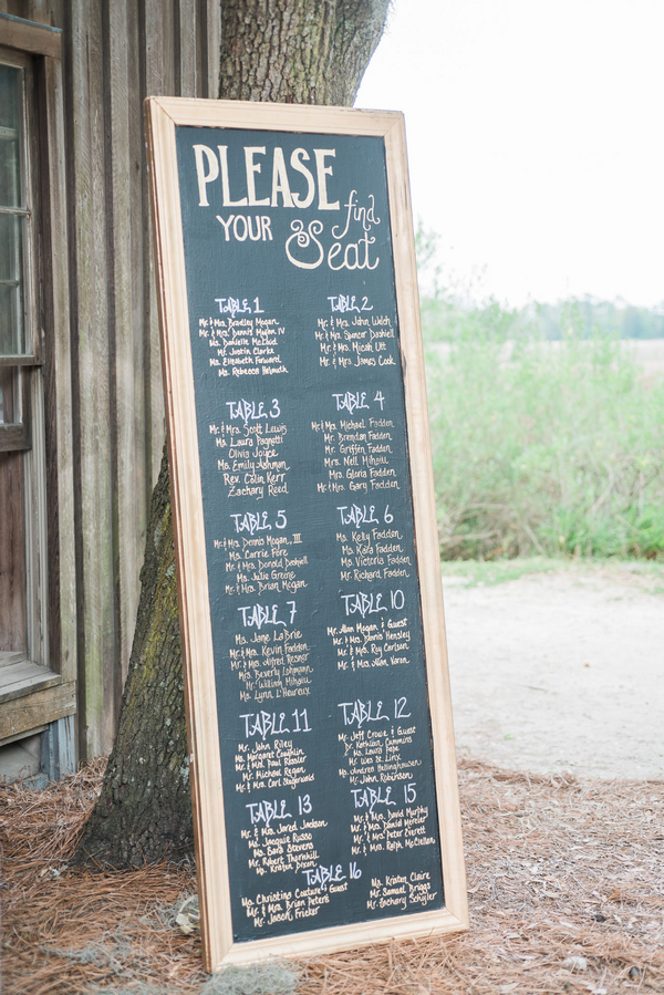 Chalkboard seating arrangement at South Carolina wedding